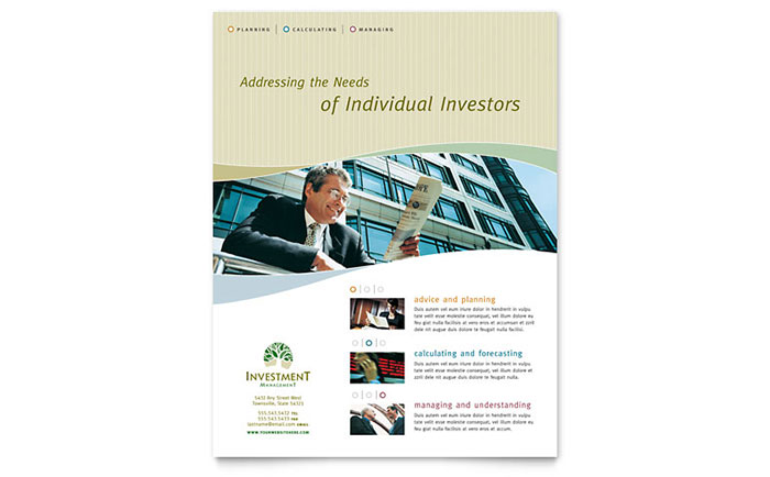 Investment Management   Sample Flyer Template  Flyer Samples Templates