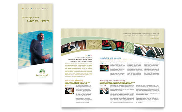 investment management tri fold brochure template design