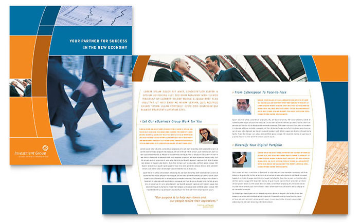 Investment services brochure template design for Brochure design services