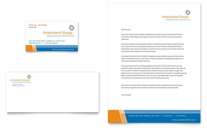 Investment Services Business Card & Letterhead Template Design Download - InDesign, Illustrator, Word, Publisher, Pages