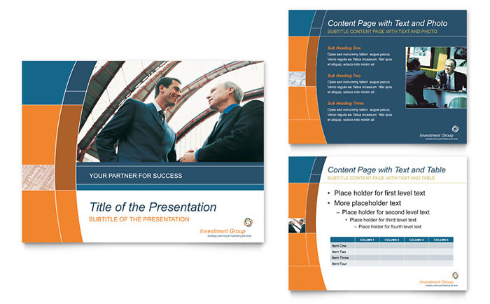 investment services powerpoint presentation template design, Presentation templates