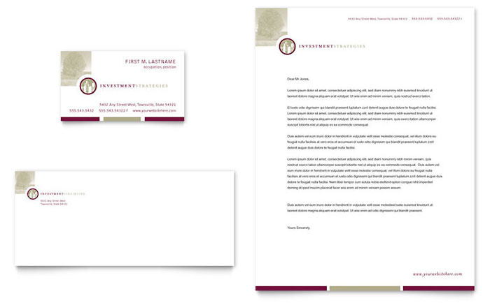 Financial Consulting Business Card & Letterhead Template Design Download - InDesign, Illustrator, Word, Publisher, Pages