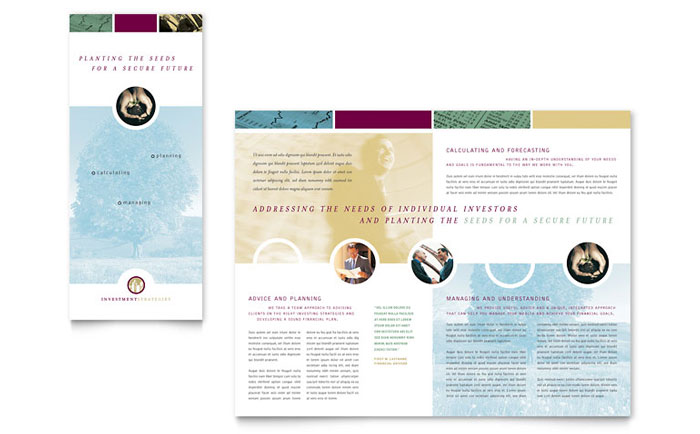 Financial Consulting Tri Fold Brochure Template Design Download - InDesign, Illustrator, Word, Publisher, Pages