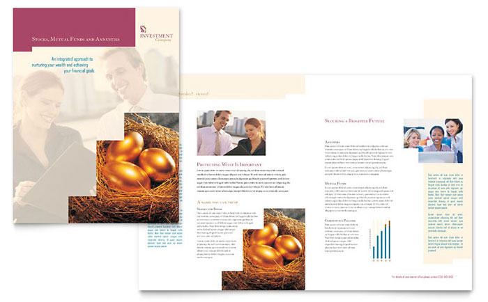 Investment Company Brochure Template Design Download - InDesign, Illustrator, Word, Publisher, Pages