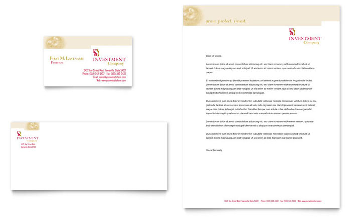 Investment Company Business Card Letterhead Template Design
