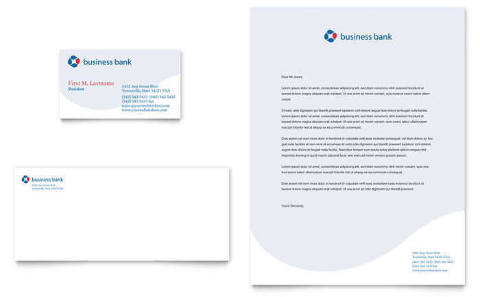 Business Bank Business Card Amp Letterhead Template Design