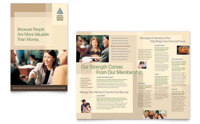 Credit Union Amp Bank Brochure Template Design