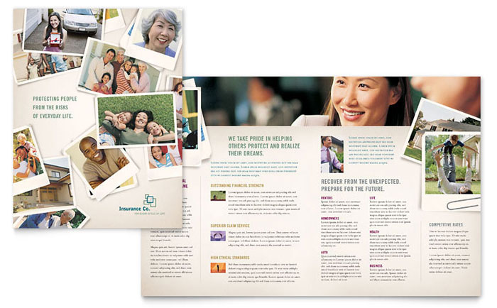 Life insurance company brochure template design for Insurance brochure template