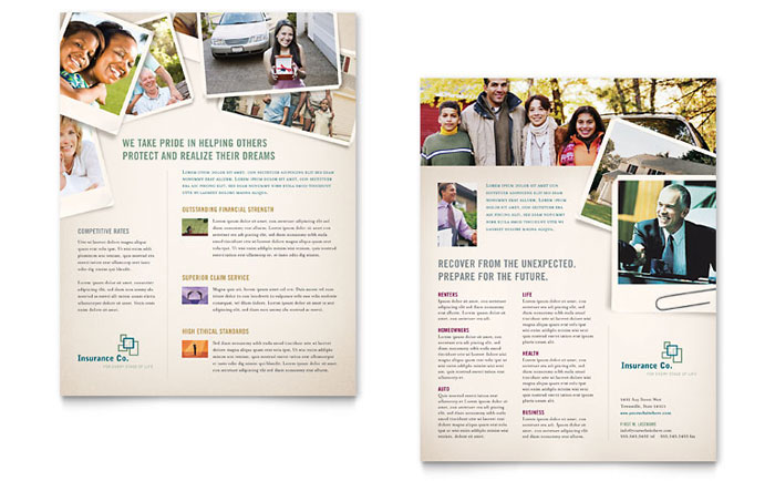 Life insurance company datasheet template design for Insurance brochure template