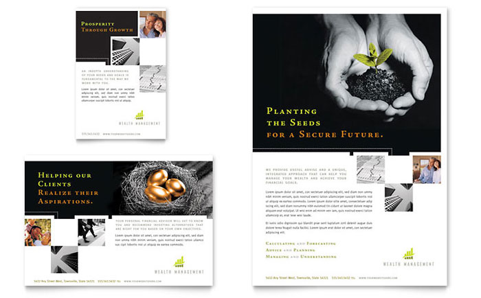 Wealth Management Services Flyer & Ad Template Design Download - InDesign, Illustrator, Word, Publisher, Pages