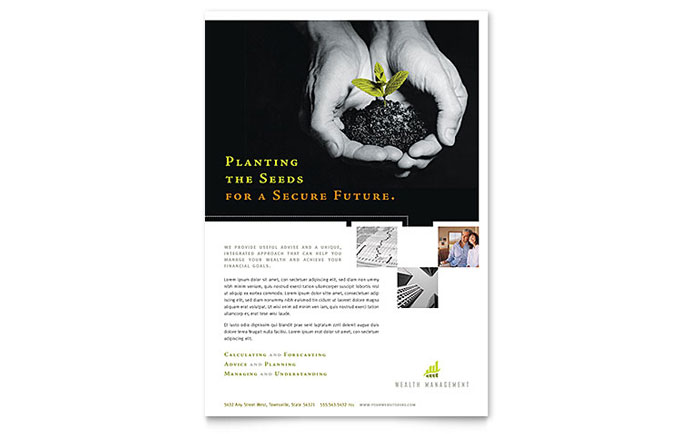 wealth management services flyer template design