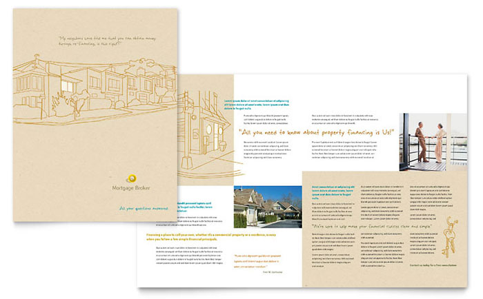 Mortgage Broker Brochure Template Design Download - InDesign, Illustrator, Word, Publisher, Pages