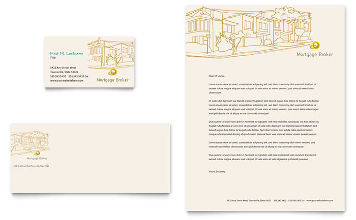 Mortgage Broker Business Card & Letterhead Template Design Download - InDesign, Illustrator, Word, Publisher, Pages