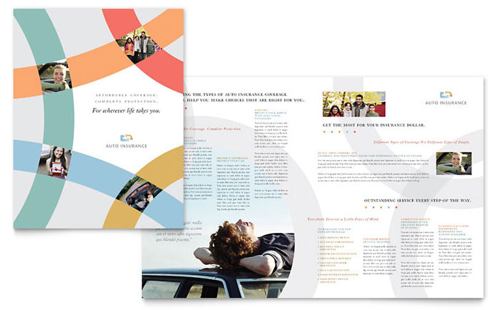 Car insurance company brochure template design for Insurance brochure template