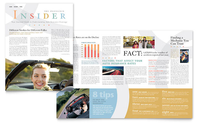Car Insurance Company Newsletter Template Design