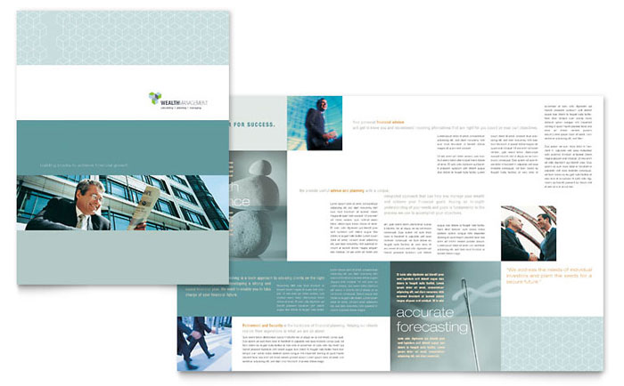 Wealth management services brochure template design for Brochure design services