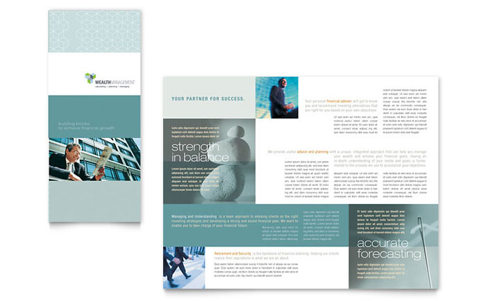 Wealth management services tri fold brochure template design for Brochure design services