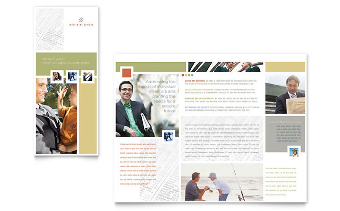 Investment Advisor Brochure Template Design Download - InDesign, Illustrator, Word, Publisher, Pages