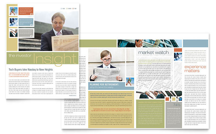 Investment Advisor Newsletter Template Design Download - InDesign, Illustrator, Word, Publisher, Pages