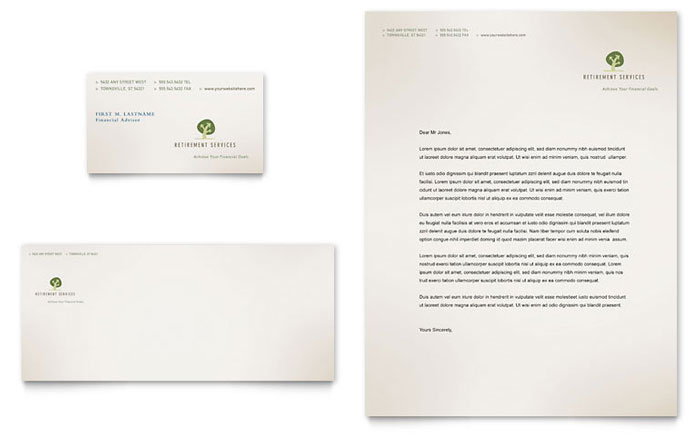 Retirement Investment Services Business Card & Letterhead Template Design Download - InDesign, Illustrator, Word, Publisher, Pages