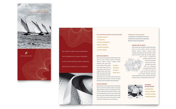 CPA & Tax Accountant Brochure Template Design - InDesign, Illustrator, Word, Publisher, Pages