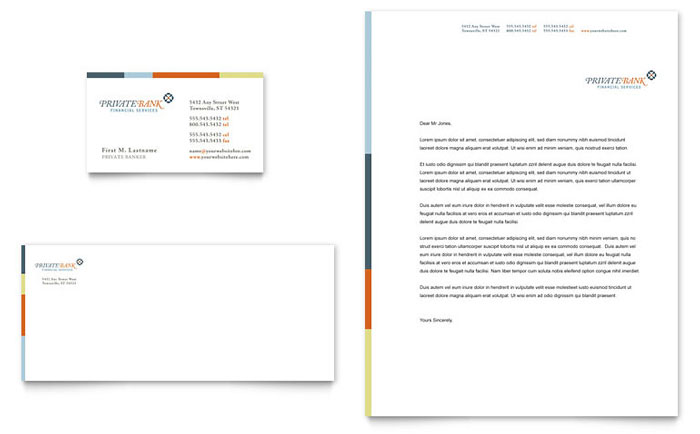 Private Bank Business Card & Letterhead Template Design Download - InDesign, Illustrator, Word, Publisher, Pages