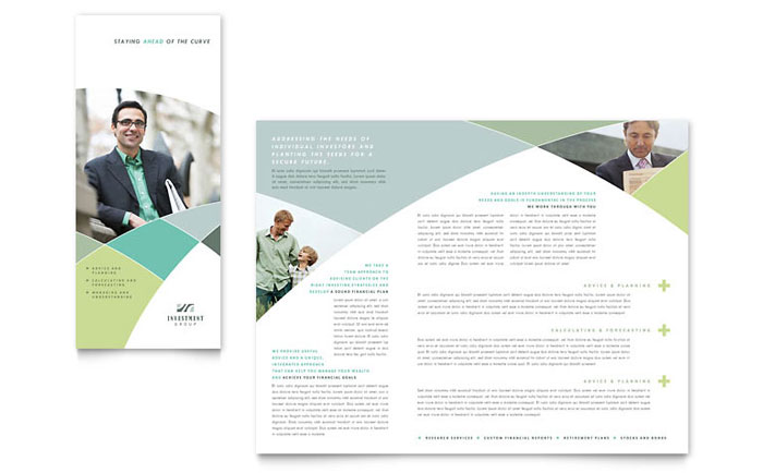 Financial Advisor Brochure Template Design Download - InDesign, Illustrator, Word, Publisher, Pages