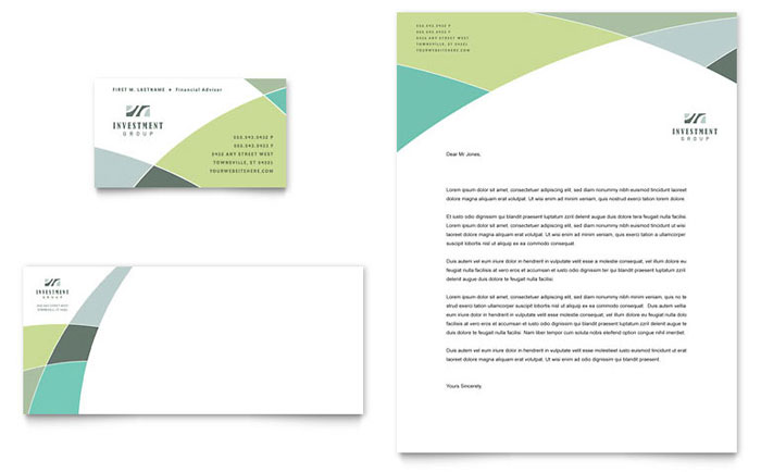 Financial advisor business card letterhead template design accmission