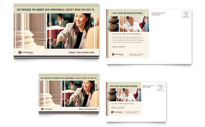 Financial Planner Postcard Template Design Download - InDesign, Illustrator, Word, Publisher, Pages