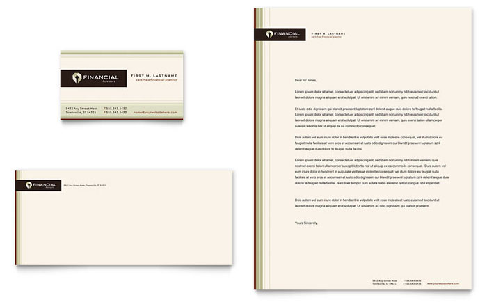 Financial Planner Business Card & Letterhead Template Design Download - InDesign, Illustrator, Word, Publisher, Pages