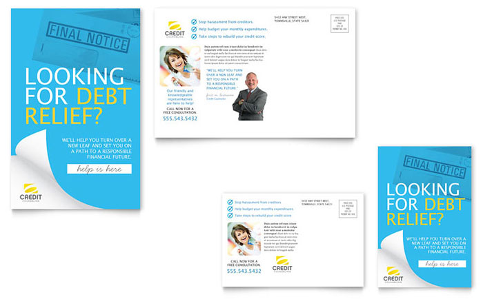 debt management templates brochures flyers business cards