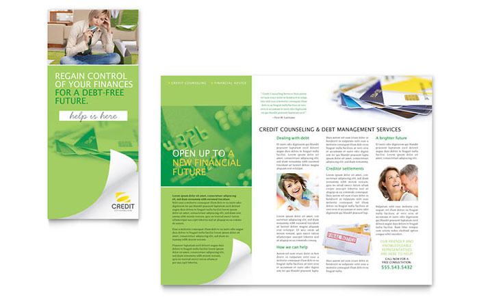Consumer Credit Counseling Tri Fold Brochure Template Design Download - InDesign, Illustrator, Word, Publisher, Pages