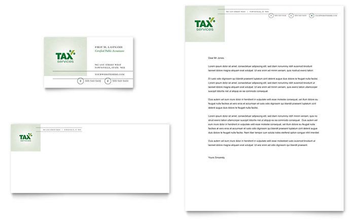 Accounting tax services business card letterhead template design fbccfo Image collections