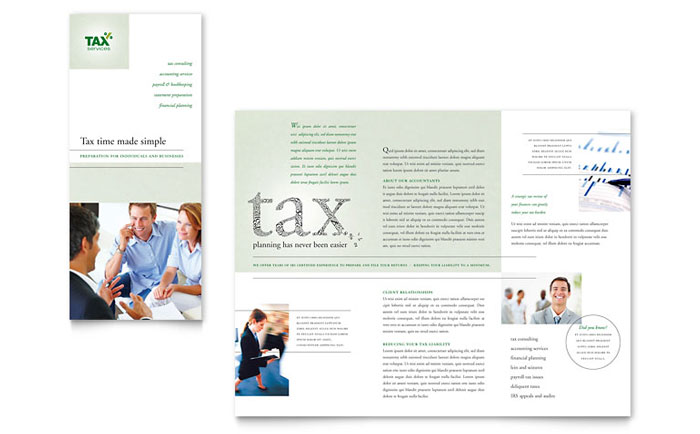 Accounting & Tax Services Tri Fold Brochure Template Design Download - InDesign, Illustrator, Word, Publisher, Pages