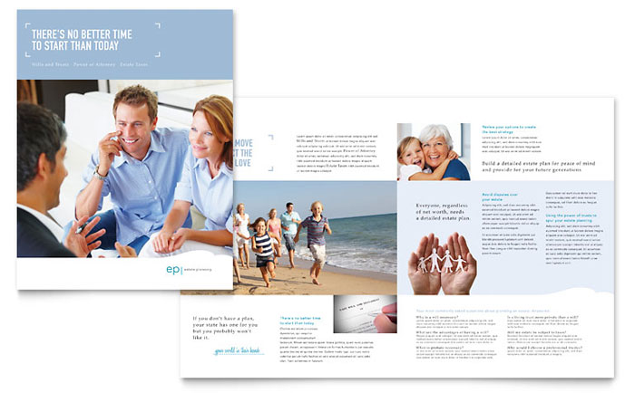 Estate Planning Brochure Template Design - InDesign, Illustrator, Word, Publisher, Pages
