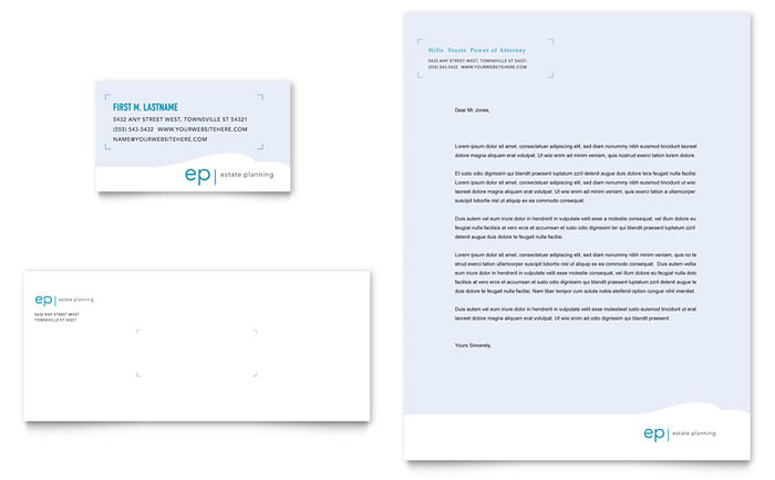 Estate Planning Business Card & Letterhead Template Design