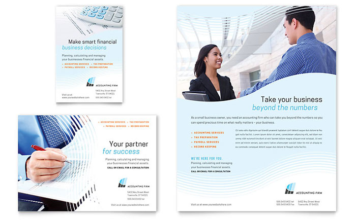 Accounting firm flyer ad template design for Free bookkeeping brochure templates