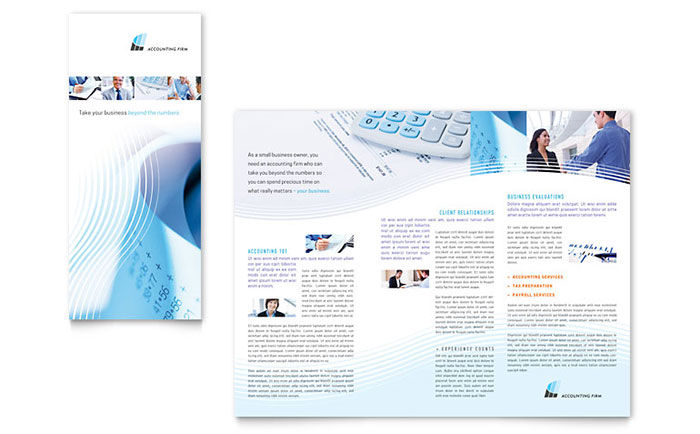 Accounting firm tri fold brochure template design for Free bookkeeping brochure templates