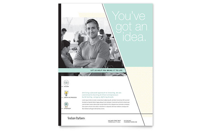 Venture Capital Firm Flyer Template Design Download - InDesign, Illustrator, Word, Publisher, Pages
