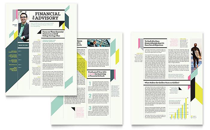 personal finance newsletter template design