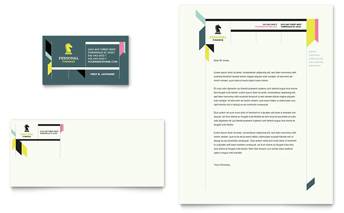 Personal Finance Business Card  Letterhead Template Design