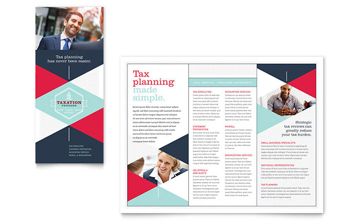 Tax preparer brochure template design for Free business brochures templates