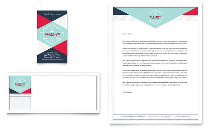 Tax Preparer Business Card Letterhead Template Design