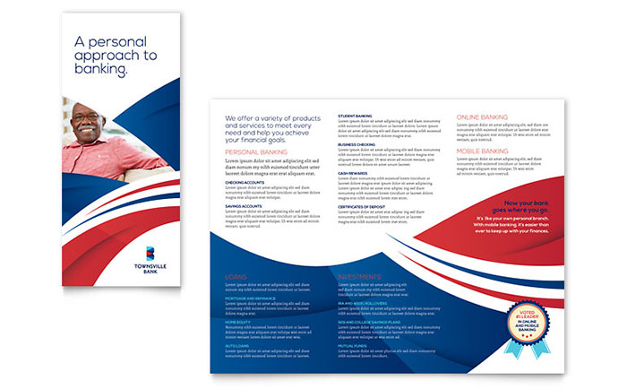 Bank Brochure Template Design - Tri fold brochure template download