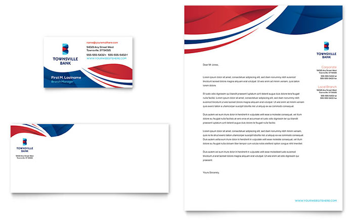Bank Business Card & Letterhead Design Idea