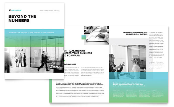 Auditing firm brochure template design for Product brochure template word
