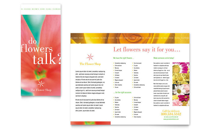 Florist shop brochure template design for Event program template publisher