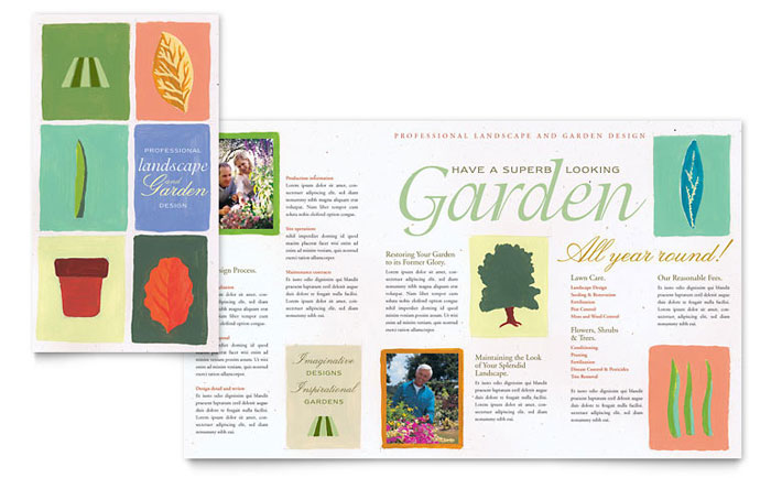 Garden landscape design brochure template design for Garden products catalog