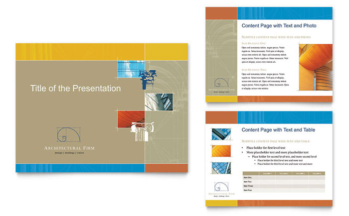architectural firm powerpoint presentation template design, Presentation templates