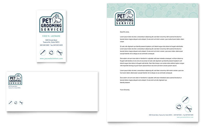 Pet Grooming Service Business Card & Letterhead Template Design Download - InDesign, Illustrator, Word, Publisher, Pages